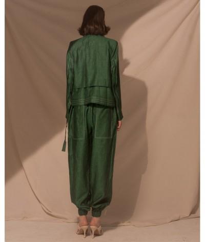 Traje Cruzado de Lino con Capas Verde Esmeralda | Belisa Pulido | Sastrería artesanal